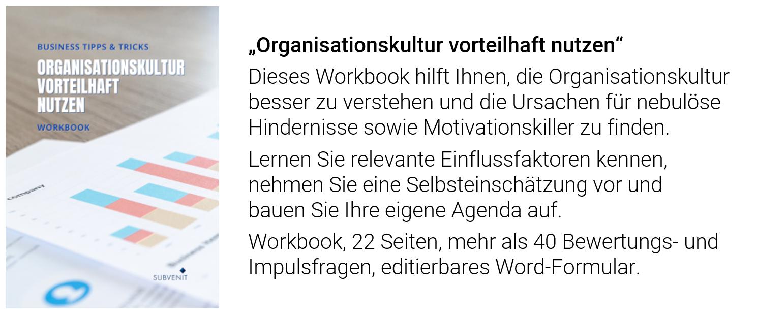 """Workbook """"Organisationskultur vorteilhaft nutzen"""""""