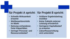 Pro-Contra-Liste 2 Entscheidung Projekt A oder Projekt B